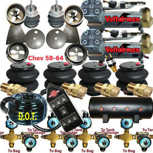 Impala Air Ride Kit Valves 7 Switch Air Compressors Tank 58 64 Chevy everything