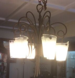 Large Hand Wrought Iron Chandelier With Hand Made Murano Shades Superb