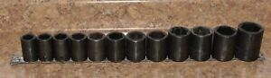Snap On 12pc 1 2 Drive 6 point Metric Flank Drive Shallow Impact Socket Set