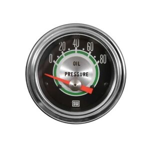 Stewart Warner Green Line Oil Pressure Gauge 0 80 Psi 2 1 16