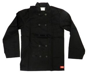 Dickies Black Chef Coat Jacket Cw070305a Restaurant Button Front Uniform Xs New