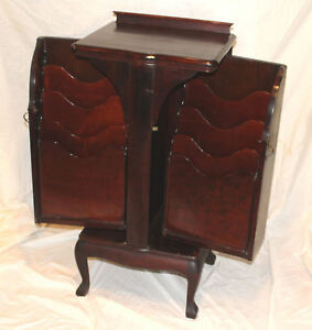 Antique Mahogany Music Storage Cabinet Made By Herzog