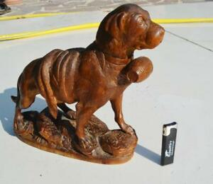 19thc Black Forest Antique Hand Carved Wood St Bernard Dog Mint Condition10 2 In