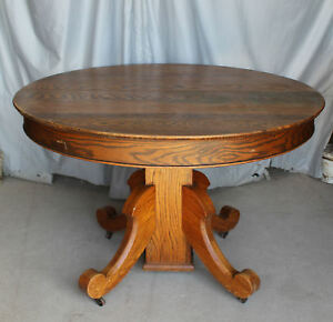 Antique Round Oak Table Original Finish 45 Diameter With Leaves