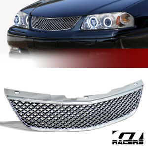For 2000 2005 Chevy Impala Chrome Luxury Mesh Front Hood Bumper Grill Grille Abs
