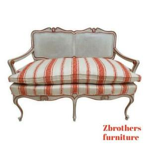 Vintage French Regency Paint Decorated Cane Settee Love Seat Bench