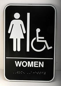 Womans Restroom Sign 9x6 Toilet Bathroom Ladies Room Wash Room Handicapped Brail