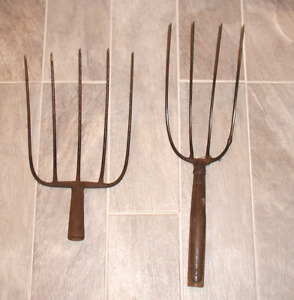 Lot Of Two Vintage Hay Pitch Fork Antique Farm Tool Country Primitive