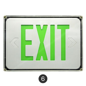 6pack Green White Led Exit Sign Slim Low Profile With Battery Backup