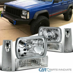 Jeep 84 96 Cherokee Clear 7 X6 Headlights Turn Signal Lights Front Bumper Lamps
