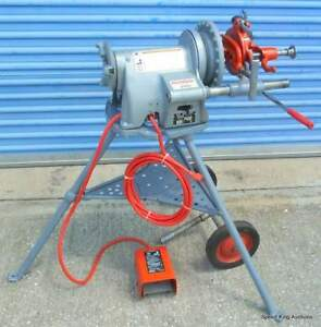 Ridgid 300 t2 Commercial Pipe Threader W Tristand Foot Pedal Wheels Clean