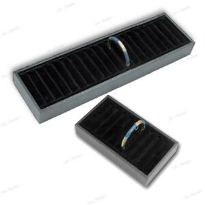 2 black Display Ring Tray Cuff Display Bracelet Display For Ring Cufflink Holder