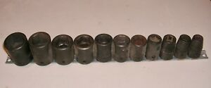 60s Snap On 1 2 Drive Standard Metric Impact Socket Set Holder 11 Sockets