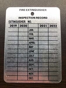 New Metal Fire Extinguisher 4 year Monthly Inspection Tags 2018 2019 2020 2021
