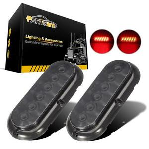 2x 6 6 Led Surface Mount Oval Smoked Lens Red Stop Turn Brake Marker Tail Light