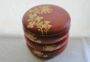 Gorgeous Artistic Japanese Lacquer Wood Bento Box Beautiful Gold Mums Or Peonies