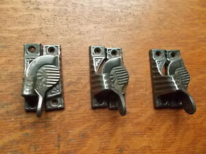 Three Antique Cast Iron Fancy Scalloped Window Sash Locks C1890