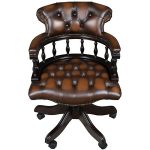 New Antique Style Mahogany And Brown Leather Office Desk Arm Chair Captains