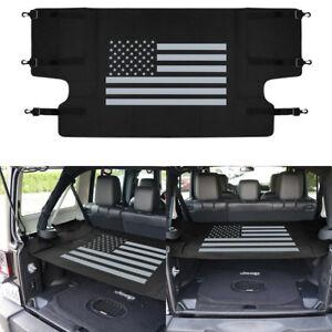 Black Waterproof Retractable Rear Trunk Cargo Cover Tray Liner For Jeep Wrangler