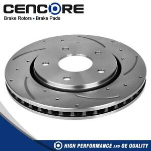 Qty1 Front Drilled Slotted Brake Rotors Disc For Dodge Journey 2009 2012