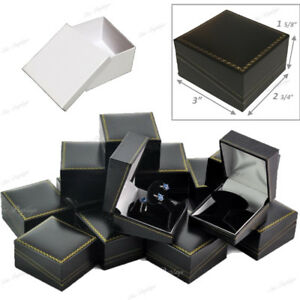 Lot 24 Jewelry Set Box Drop Earring Box Black Leatherette Gift Box Jewelry Box