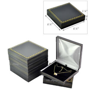 Lot Of 6 Classic Black Leatherette Necklace Gift Box Large Jewelry Box