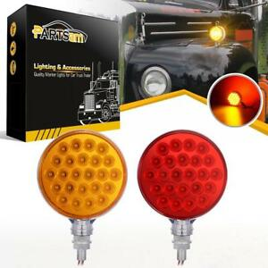 2xred amber 48 Led Truck Stop Turn Tail Stud Double Face Lights W chrome Housing