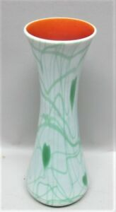 Antique Imperial American Art Nouveau Glass Vase Green Hearts