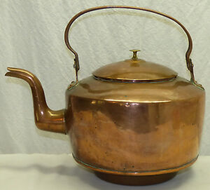Large Antique Dovetail Copper Water Tea Kettle Gooseneck Wood Coal Stove Drop In