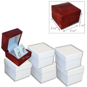 Lot Of 6 quality Premium Earring Boxes Wood Earring Gift Boxes Wooden Box