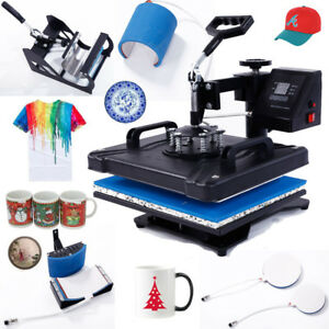 5in1 Heat Press Transfer Sublimation Machine T shirt Cup Hat High Efficient New