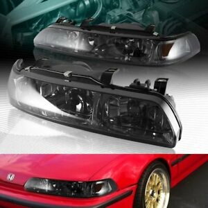 Smoke Lens Amber Reflector 1 piece Headlights Lamps Fit 90 93 Acura Integra
