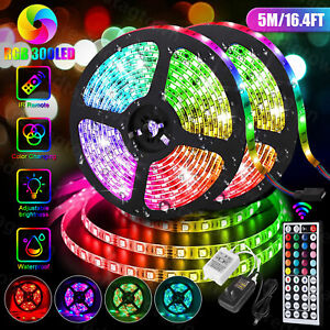 5M 16.4ft RGB Waterproof 300 LED 3528 SMD Flexible Strip Light 12V+Remote+Power $14.97