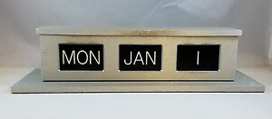 Perpetual Calendar Counter Desk Mmf Industries Brushed Aluminum Bank Business