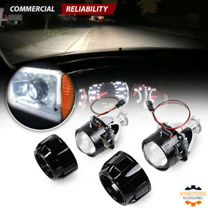 2 2 5 Bi Xenon Hid Projector Retrofit Headlight Lens Angel Eyes H1 H4 Diy Kit