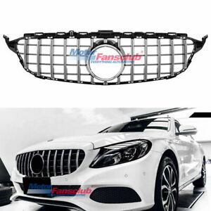 For Mercedes Benz C Class W205 2015 2018 Amg Gt R Style Black Chrome Front Grill