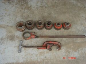 Ridgid 12r 1 2 2 6 Piece Manual Ratchet Pipe Threader Cutter Set Lot 12 r