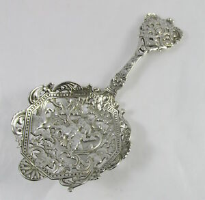 Antique Gorham Sterling Silver Spaulding Cherubs Pierced Bon Bon Server Spoon