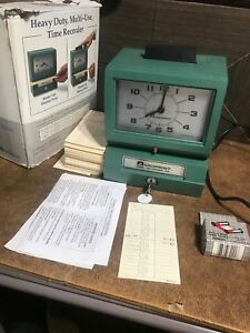 Acroprint Time Clock Model 125nr4 With Key And Time Cards