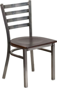 Lot Of 75 Clear Coated Ladder Back Metal Restaurant Chairs With Walnut Seat