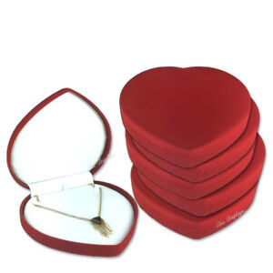 Lot Of 12 Necklace Gift Box Red Heart Box Heart Shaped Jewelry Box