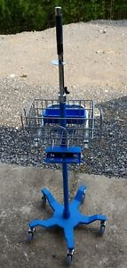 Ge Critikon Dinamap Pro Patient Monitor Rolling Caster Stand Blue With Basket
