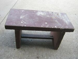 Primitive Old Vintage Handmade Wood Red Seat Carpenter Garden Milk Bench Stool