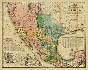 1820s United States Of Mexico Vintage Style Southest Wall Map 24x30