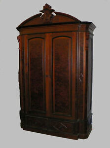 Antique Walnut Victorian Wardrobe Armoire