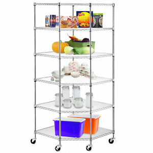 Wire Steel 6 tier Corner Shelf Garage Storage Shelving Rack Garage Space Saving