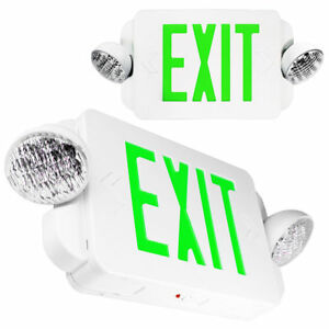2 Packs Of Led Green Exit Sign Emergency Light Combo With Battery Back up Ul924