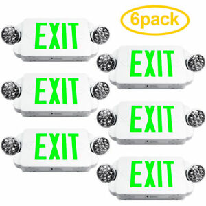 6pack Led Green Exit Sign Emergency Light High Output Compact Combo Ul924