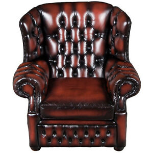 Vintage Antique Style Red Leather Tufted Wing Back Arm Chair Full Base Buttoned