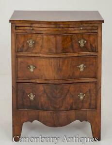 Victorian Walnut Chest Of Drawers Serpentine Commode Circa